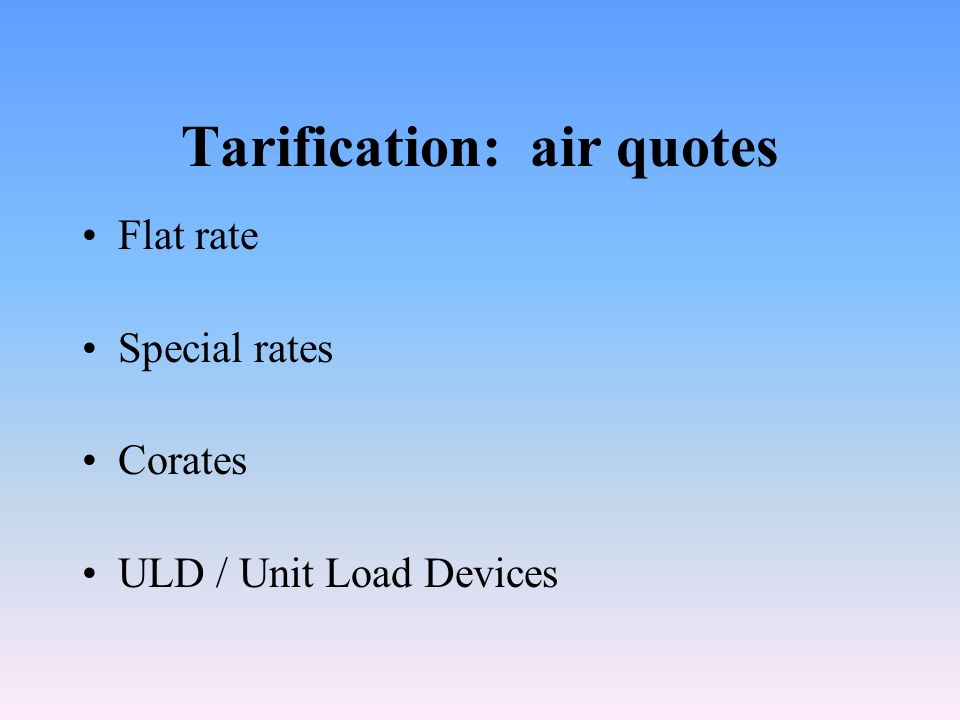 Tarification: air quotes