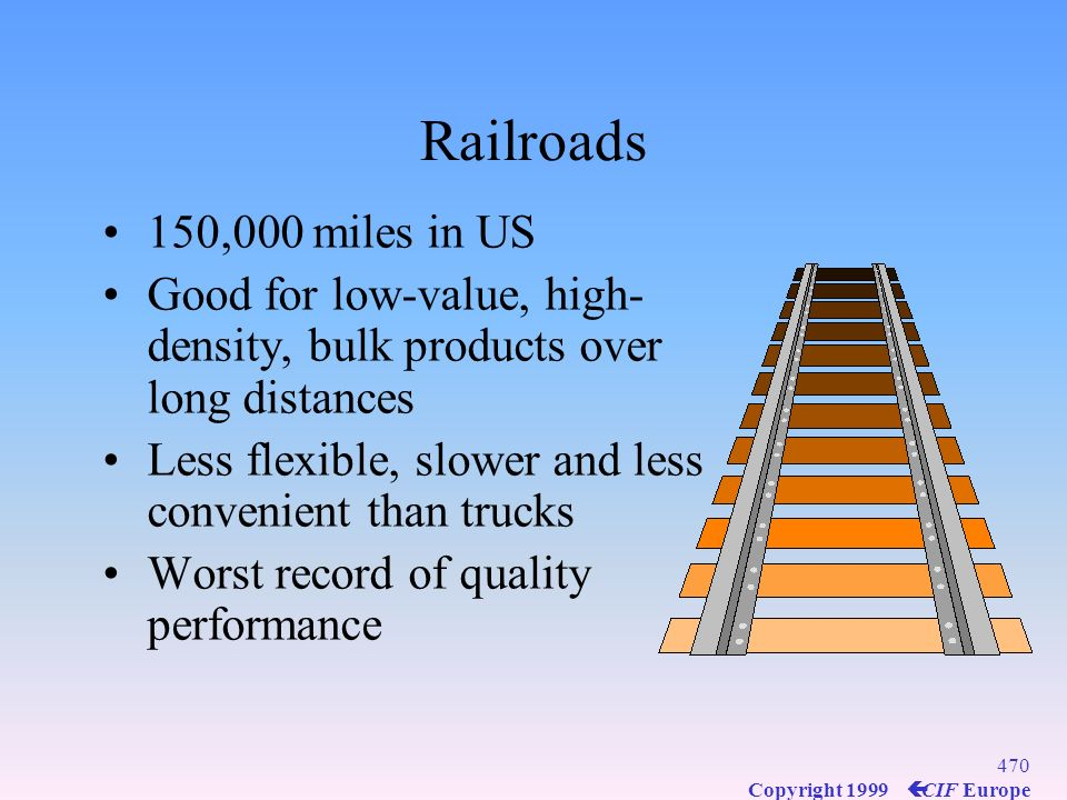 Railroads 150,000 miles in US. Good for low-value, high-density, bulk products over long distances.