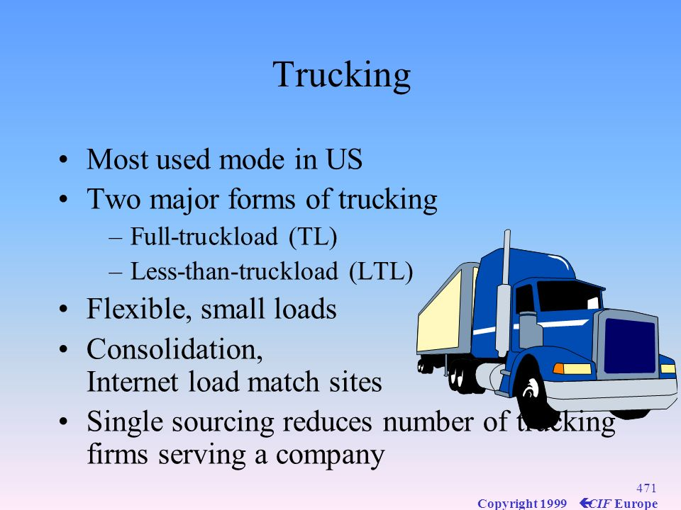 Trucking Most used mode in US Two major forms of trucking