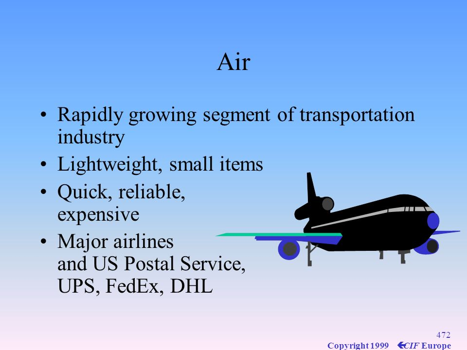 Air Rapidly growing segment of transportation industry