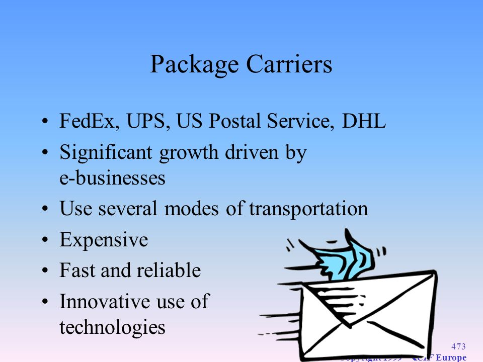 Package Carriers FedEx, UPS, US Postal Service, DHL