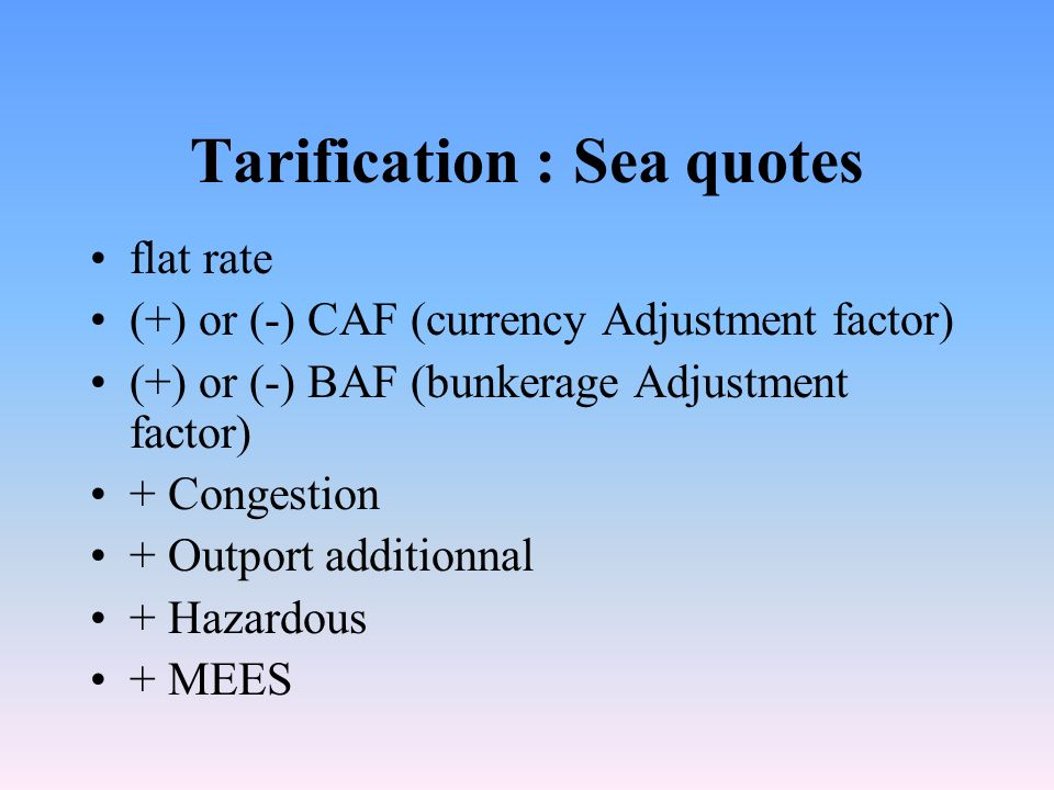 Tarification : Sea quotes