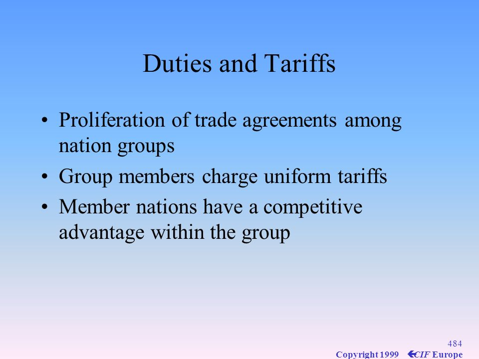 Duties and Tariffs Proliferation of trade agreements among nation groups. Group members charge uniform tariffs.