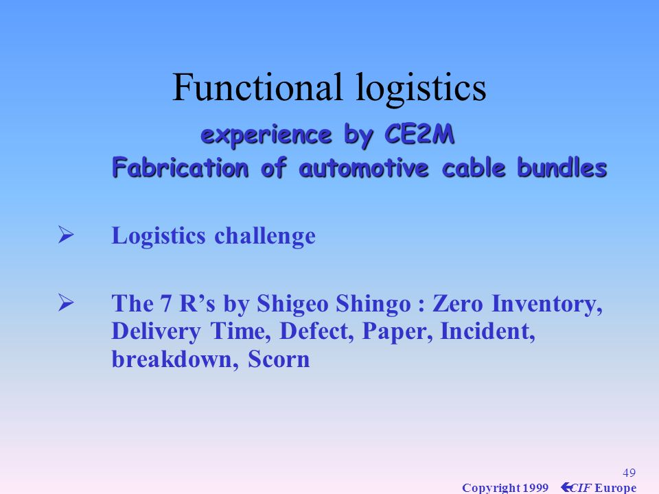 Functional logistics experience by CE2M