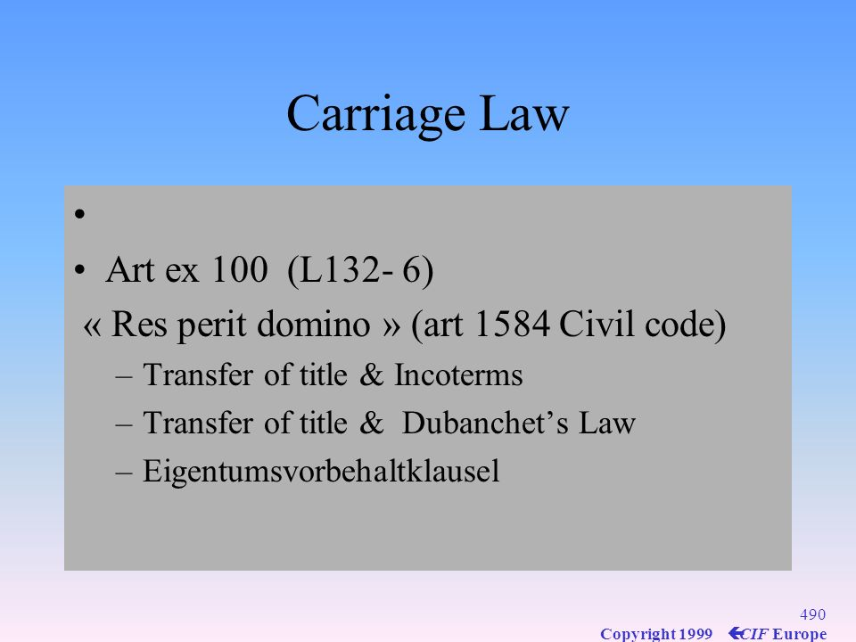 Carriage Law Art ex 100 (L132- 6)