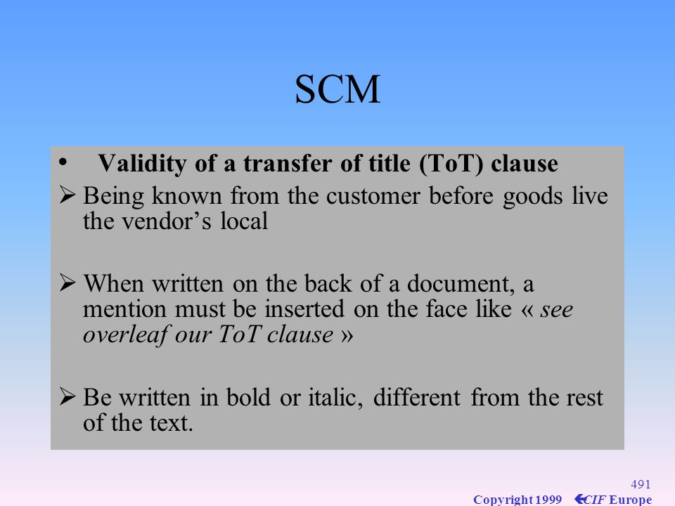SCM Validity of a transfer of title (ToT) clause
