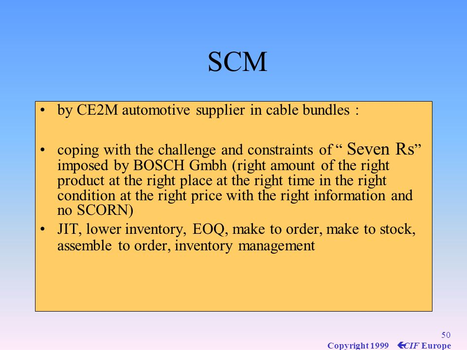 SCM by CE2M automotive supplier in cable bundles :