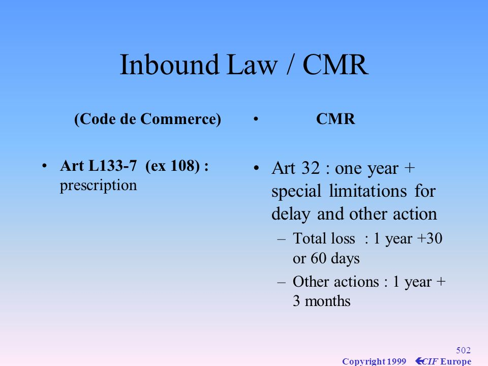 Inbound Law / CMR (Code de Commerce) Art L133-7 (ex 108) : prescription. CMR. Art 32 : one year + special limitations for delay and other action.
