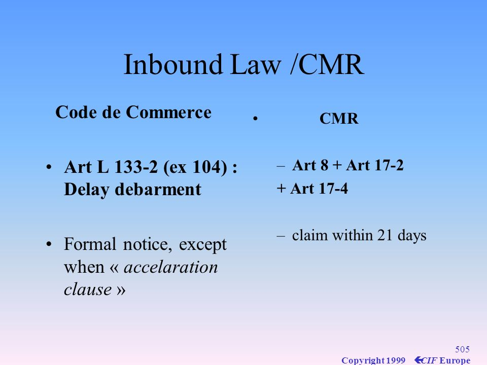 Inbound Law /CMR Code de Commerce
