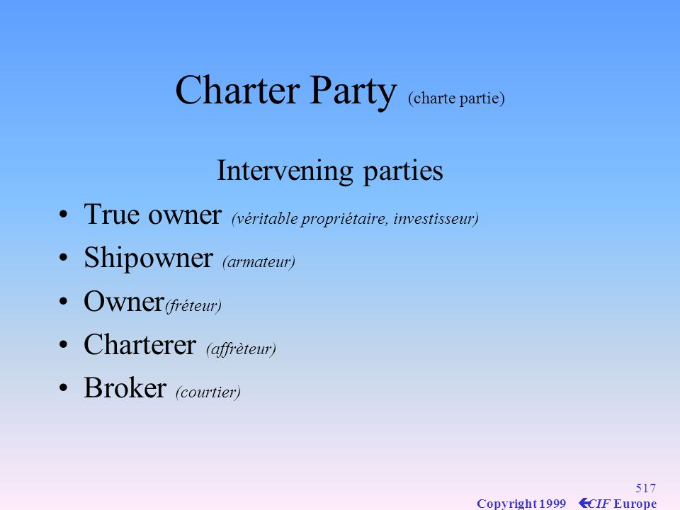 Charter Party (charte partie)