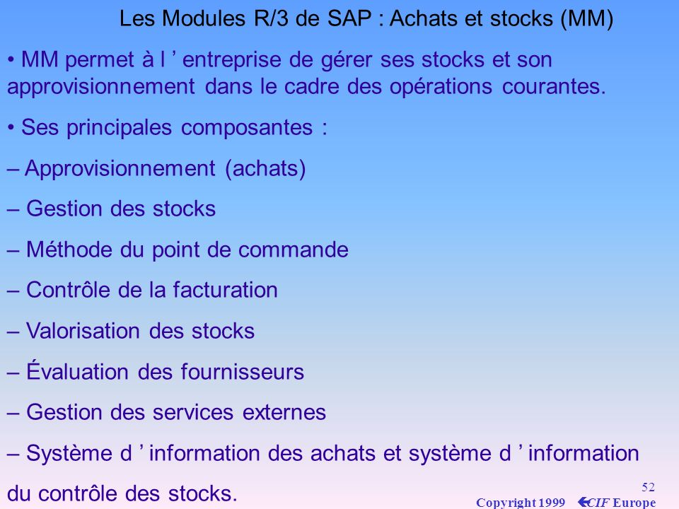 Les Modules R/3 de SAP : Achats et stocks (MM)