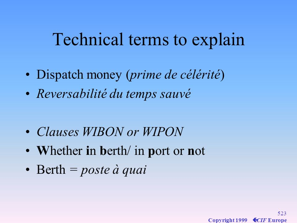 Technical terms to explain