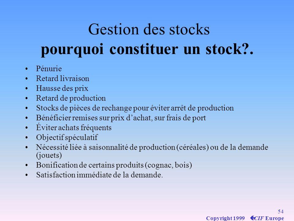 Gestion des stocks pourquoi constituer un stock .