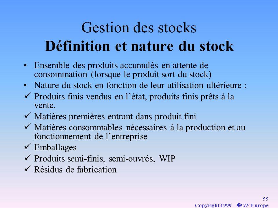 Gestion des stocks Définition et nature du stock