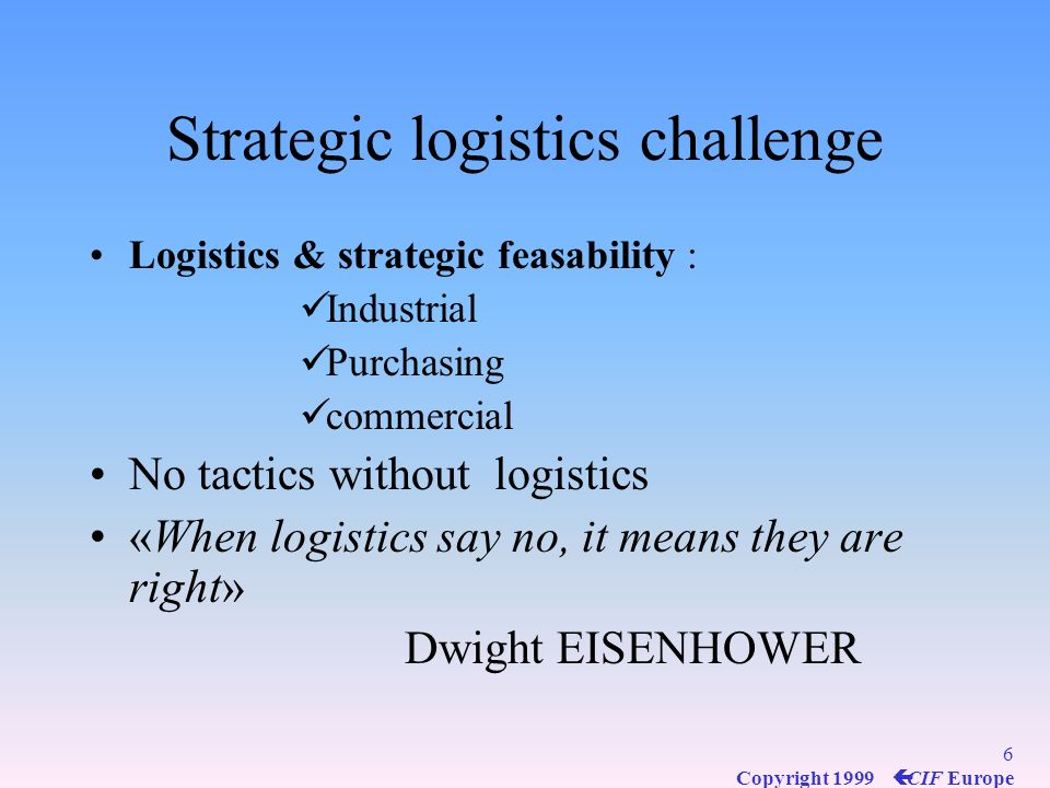 Strategic logistics challenge