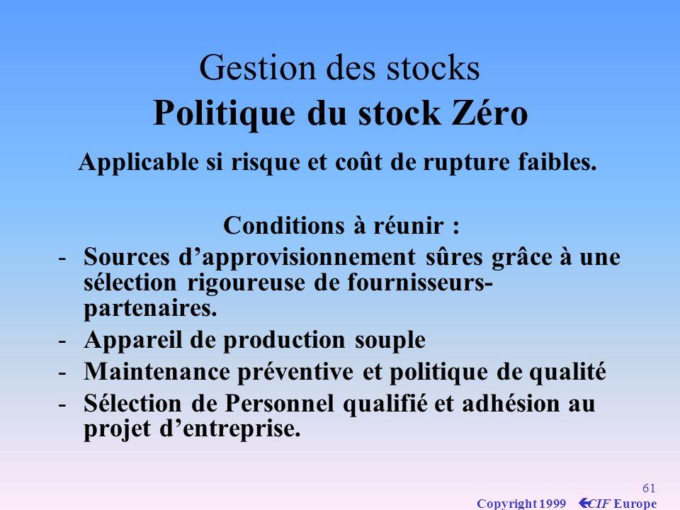 Gestion des stocks Politique du stock Zéro