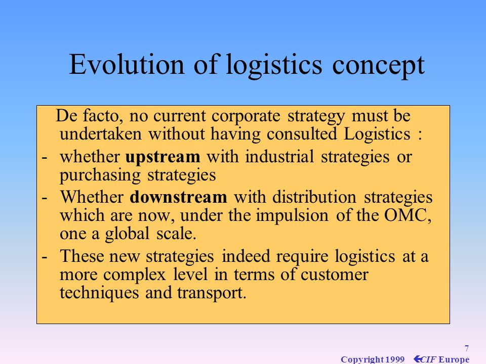 Evolution of logistics concept