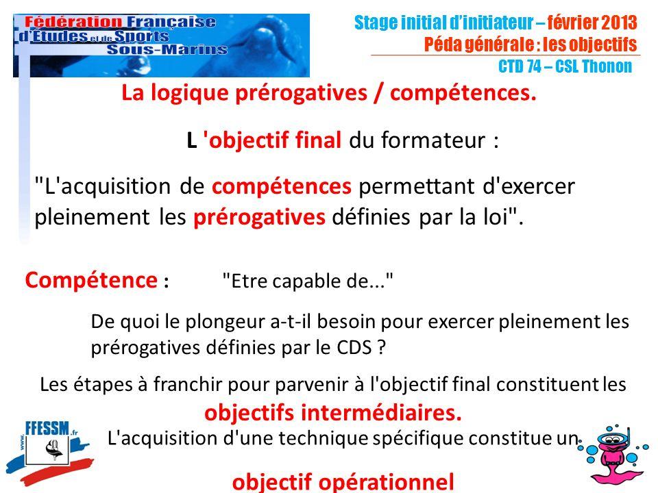 La logique prérogatives / compétences. objectif opérationnel