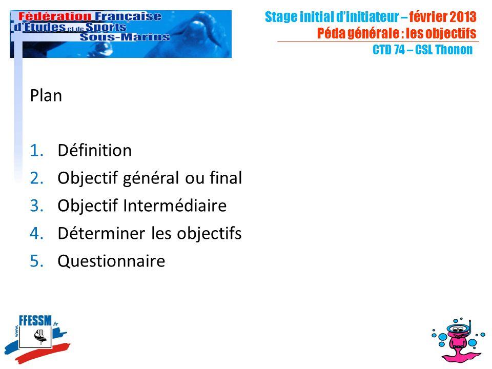 Objectif général ou final Objectif Intermédiaire