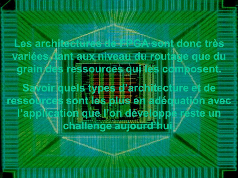 Les architectures de FPGA sont donc très variées, tant aux niveau du routage que du grain des ressources qui les composent.
