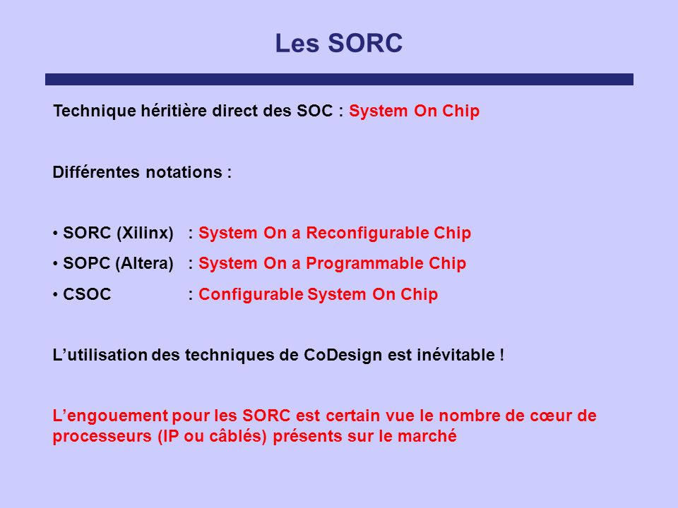Les SORC Technique héritière direct des SOC : System On Chip