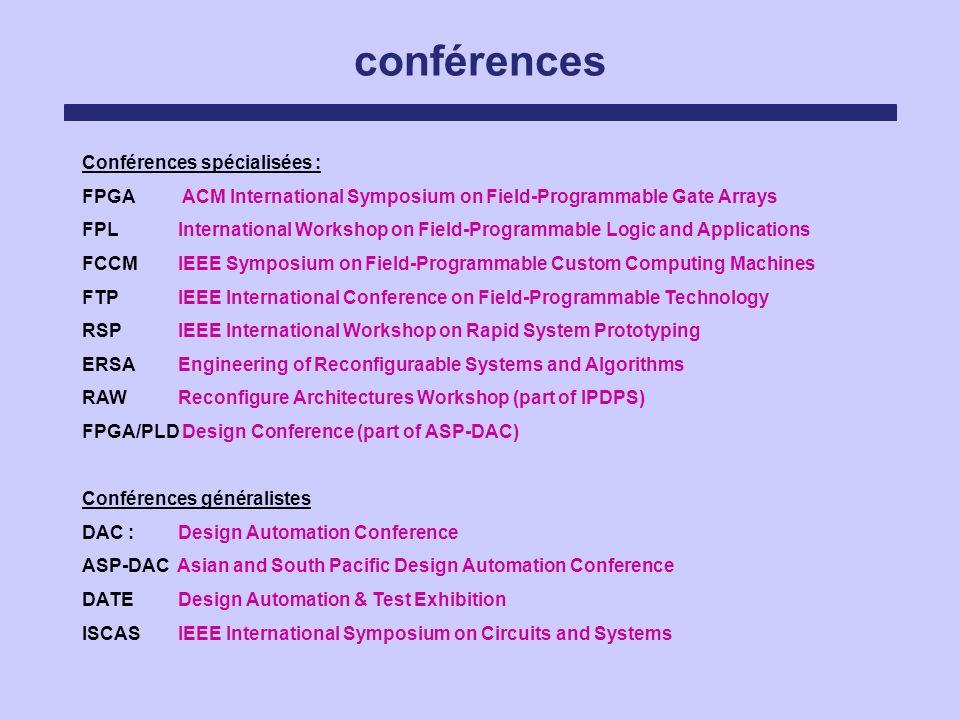 conférences Conférences spécialisées :