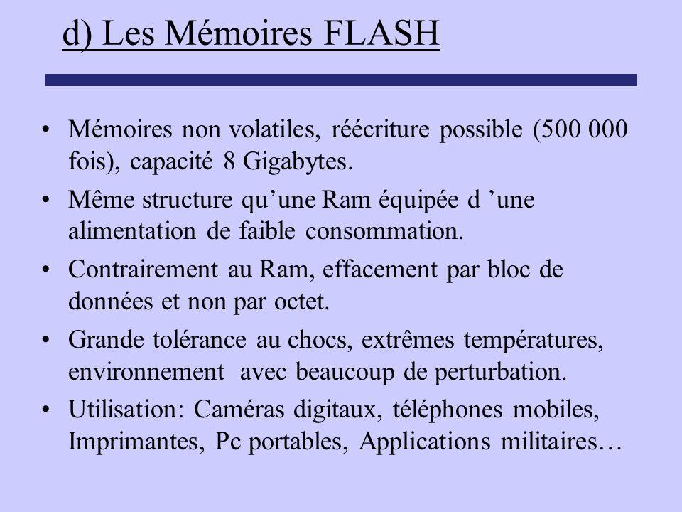 d) Les Mémoires FLASH Mémoires non volatiles, réécriture possible (500 000 fois), capacité 8 Gigabytes.