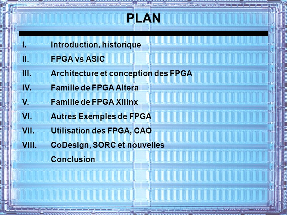 PLAN I. Introduction, historique II. FPGA vs ASIC