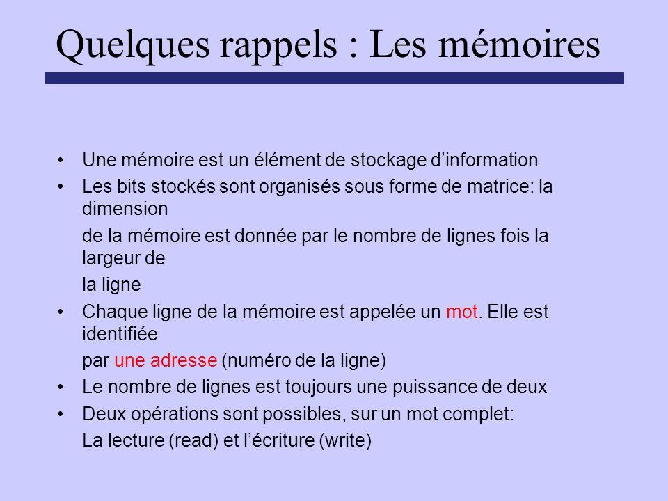 Quelques rappels : Les mémoires