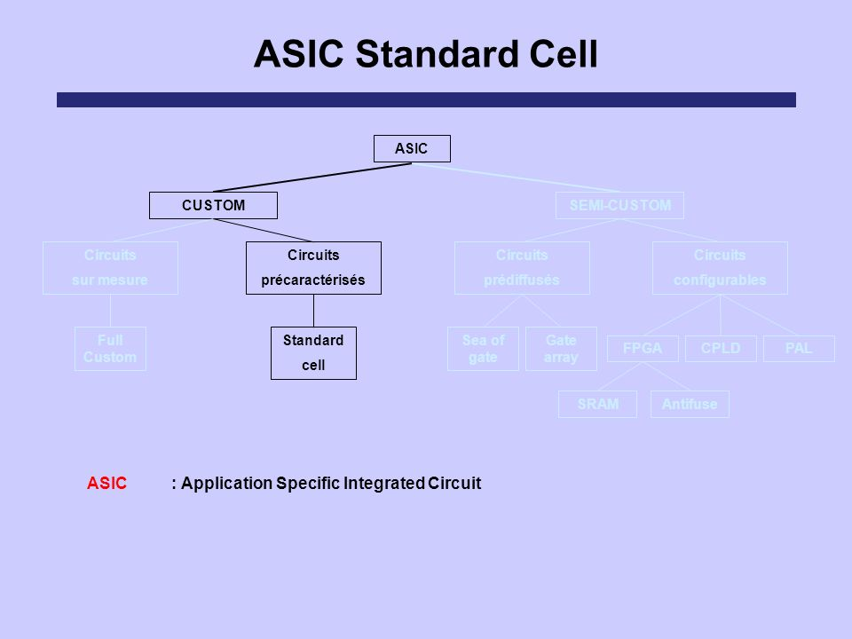 ASIC : Application Specific Integrated Circuit