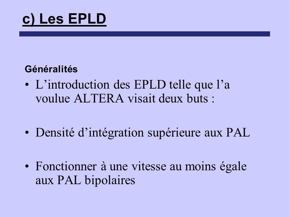c) Les EPLD Généralités. L'introduction des EPLD telle que l'a voulue ALTERA visait deux buts : Densité d'intégration supérieure aux PAL.