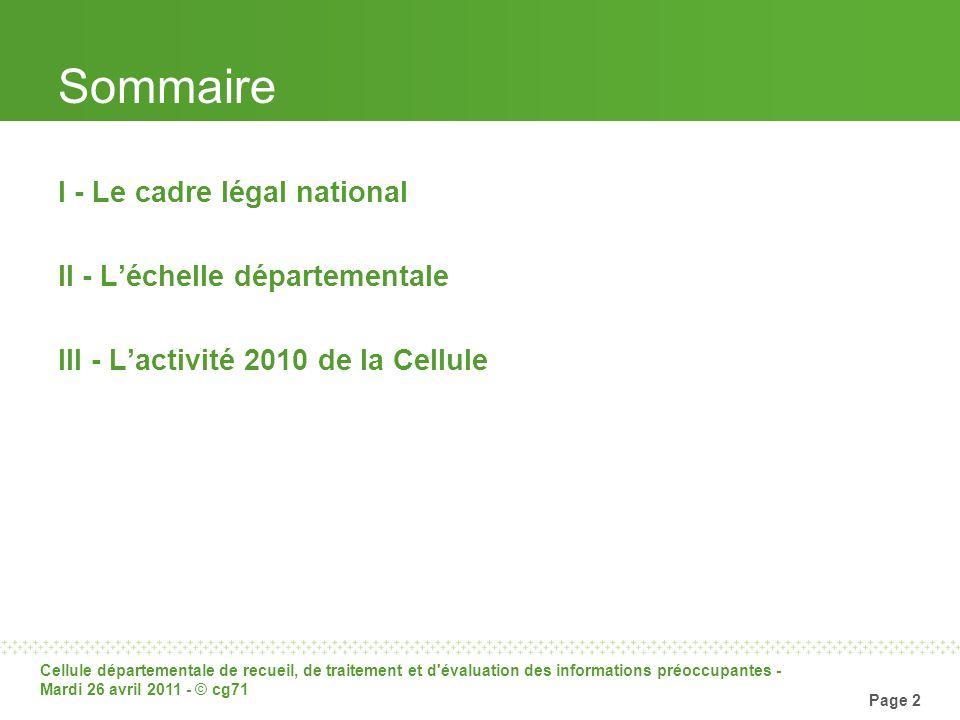 Sommaire I - Le cadre légal national II - L'échelle départementale