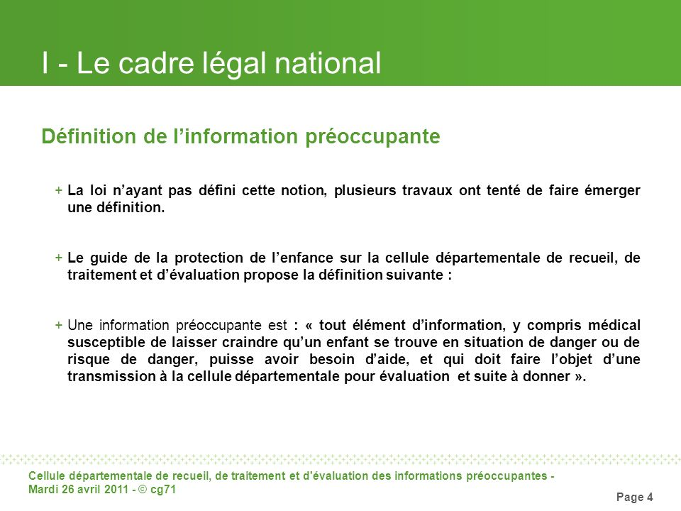 I - Le cadre légal national