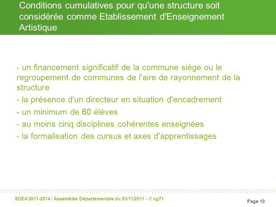Conditions cumulatives pour qu une structure soit considérée comme Etablissement d Enseignement Artistique