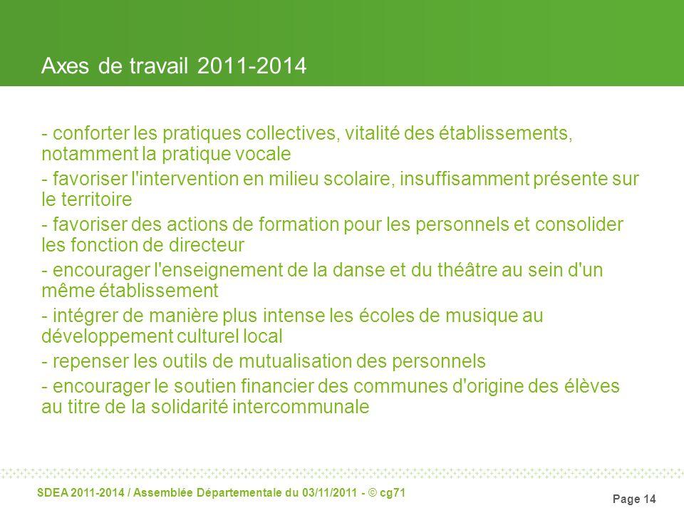 Axes de travail 2011-2014conforter les pratiques collectives, vitalité des établissements, notamment la pratique vocale.