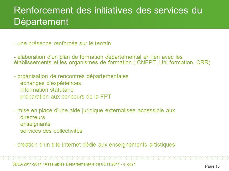 Renforcement des initiatives des services du Département