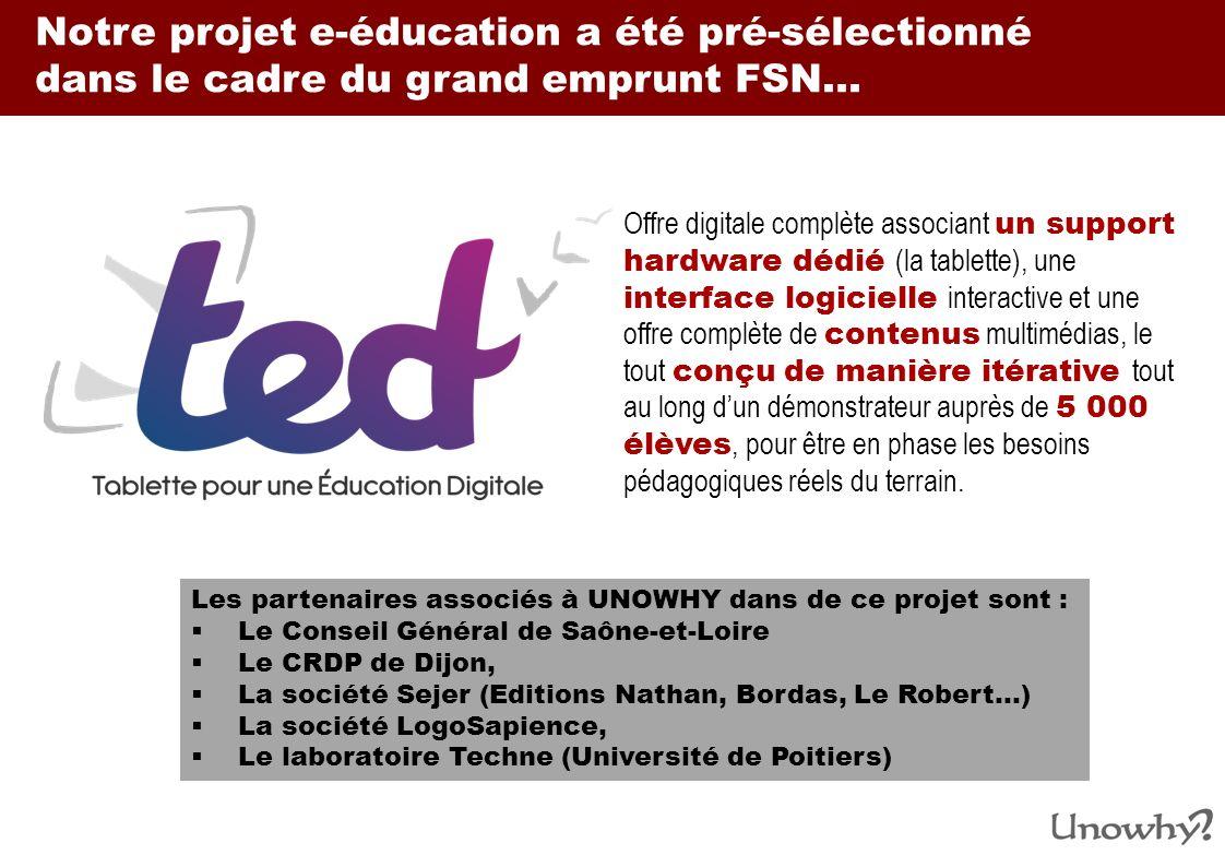 Notre projet e-éducation a été pré-sélectionné dans le cadre du grand emprunt FSN…