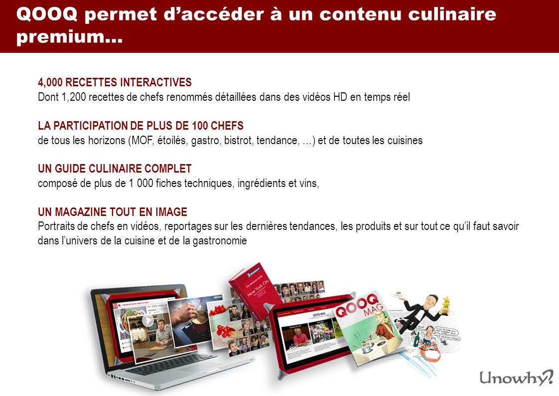 QOOQ permet d'accéder à un contenu culinaire premium…