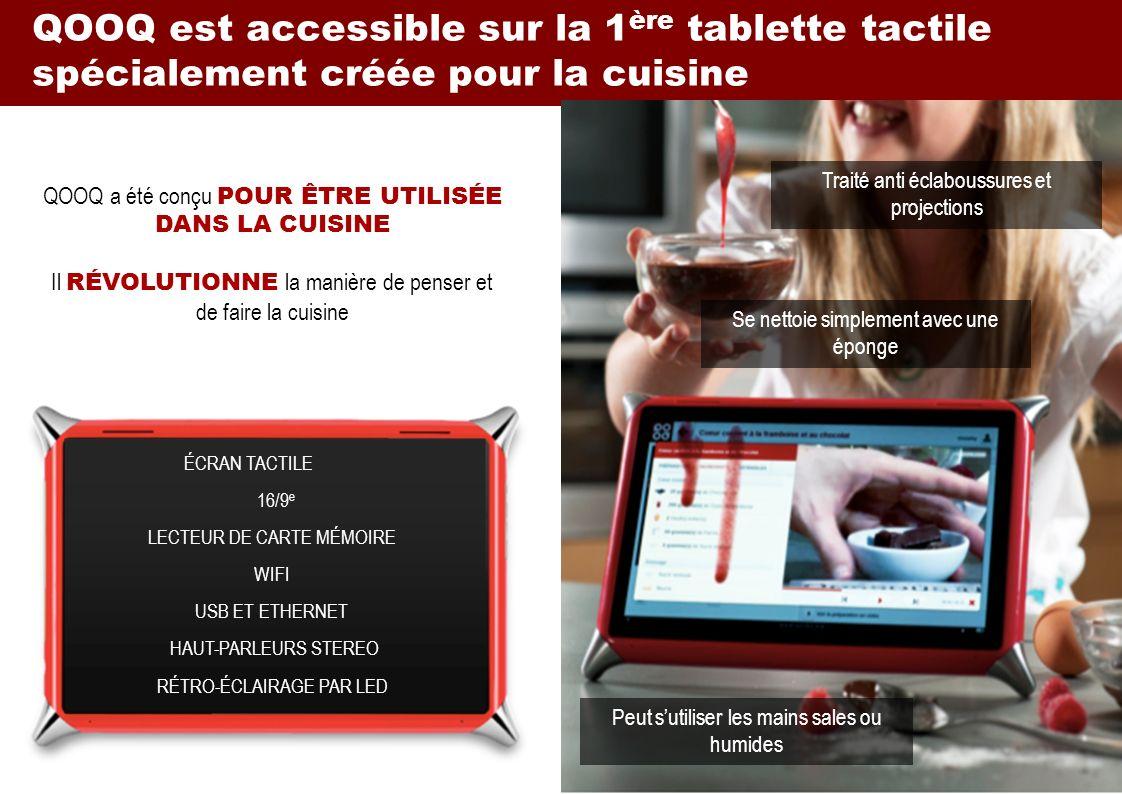 QOOQ est accessible sur la 1ère tablette tactile spécialement créée pour la cuisine