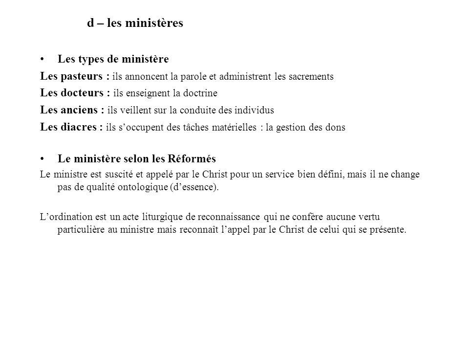d – les ministères Les types de ministère