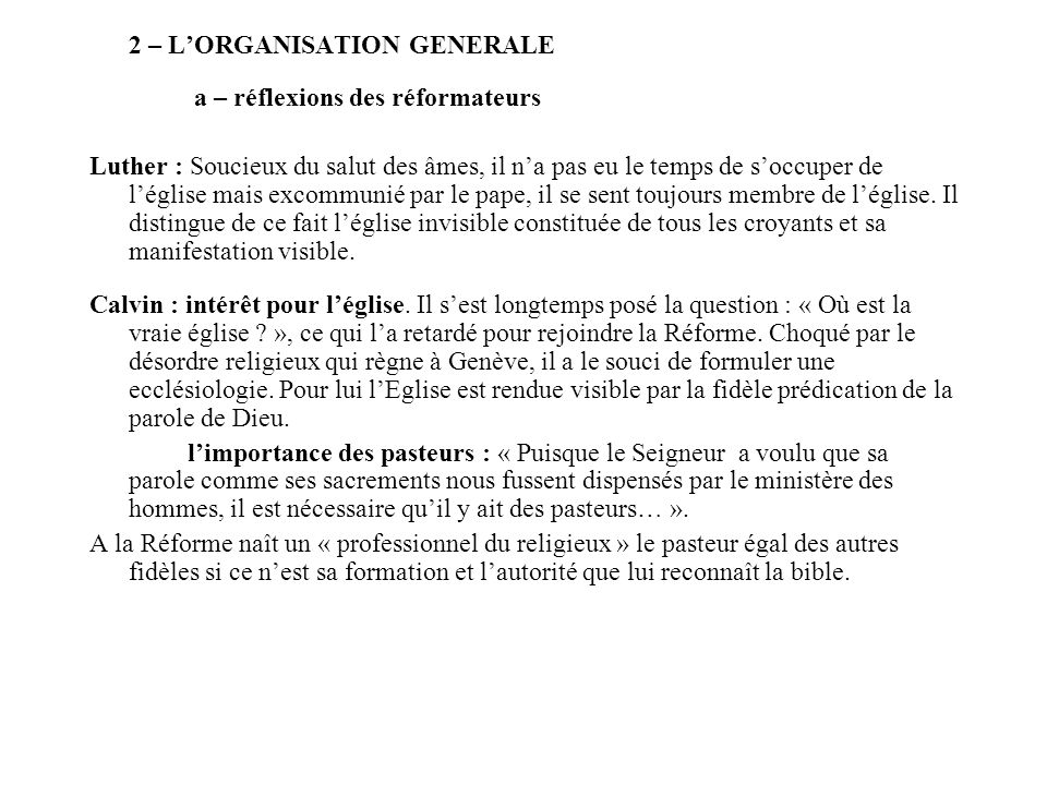 2 – L'ORGANISATION GENERALE
