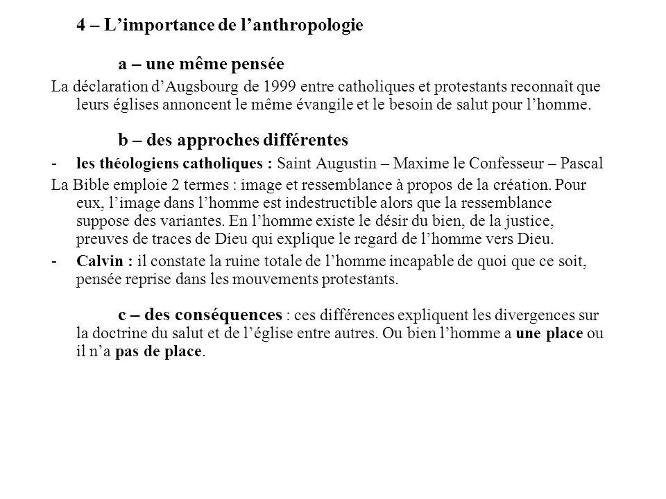 4 – L'importance de l'anthropologie a – une même pensée