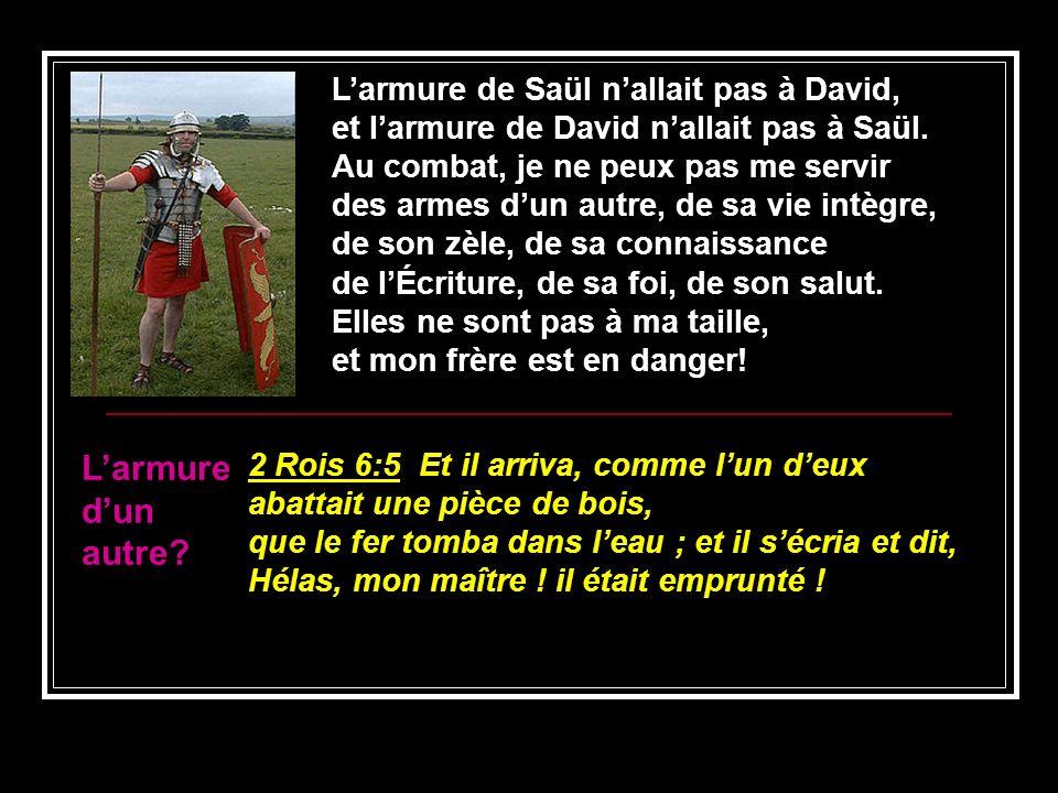 L'armure d'un autre L'armure de Saül n'allait pas à David,