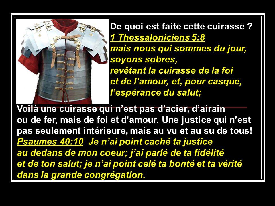 De quoi est faite cette cuirasse 1 Thessaloniciens 5:8