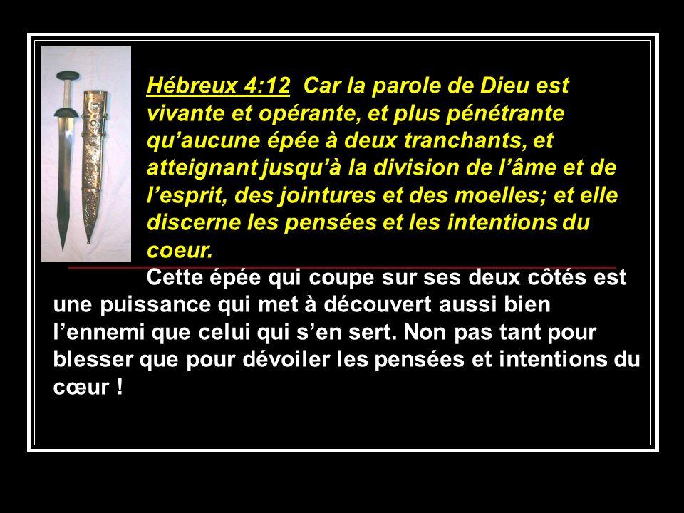 Hébreux 4:12 Car la parole de Dieu est