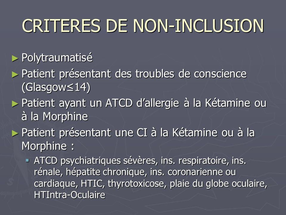CRITERES DE NON-INCLUSION