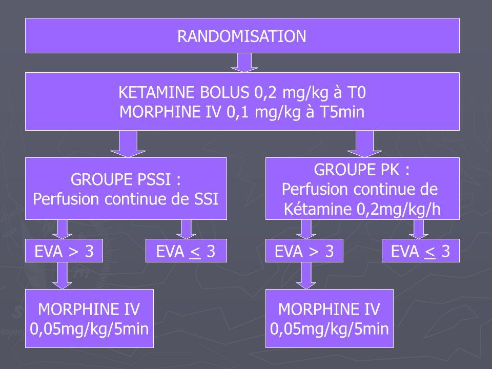 KETAMINE BOLUS 0,2 mg/kg à T0 MORPHINE IV 0,1 mg/kg à T5min