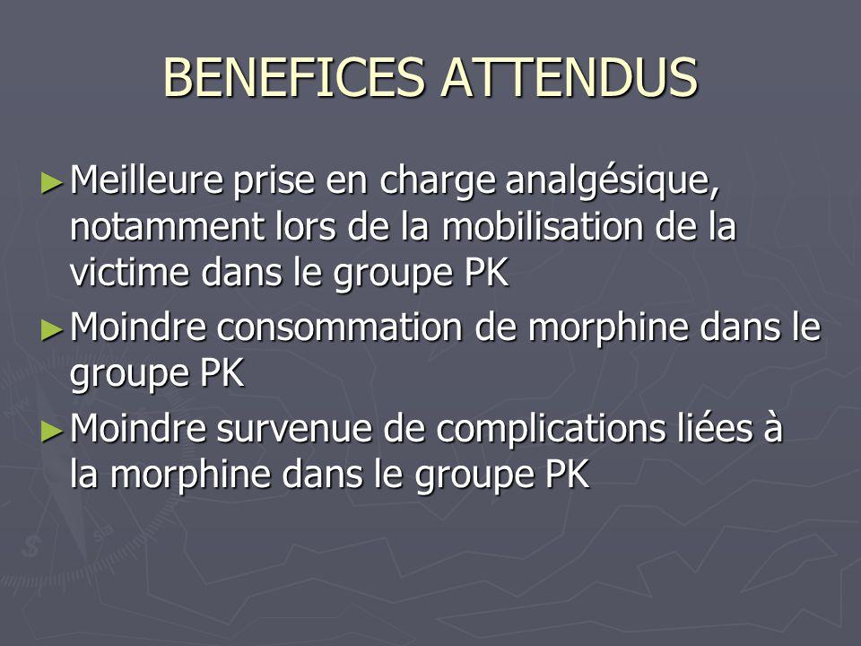 BENEFICES ATTENDUS Meilleure prise en charge analgésique, notamment lors de la mobilisation de la victime dans le groupe PK.