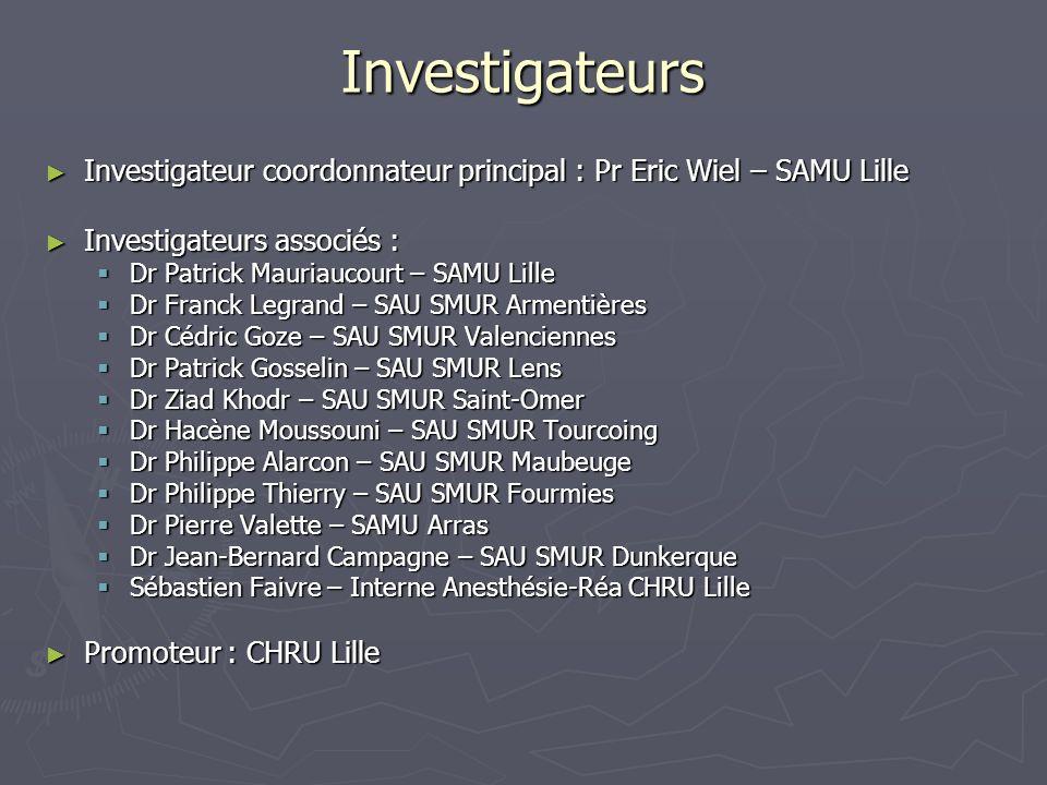 Investigateurs Investigateur coordonnateur principal : Pr Eric Wiel – SAMU Lille. Investigateurs associés :