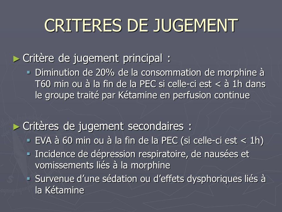 CRITERES DE JUGEMENT Critère de jugement principal :